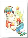 Открытки СССР. Дед Мороз читает письма