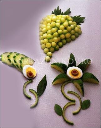 Украшения из овощей и фруктов своими